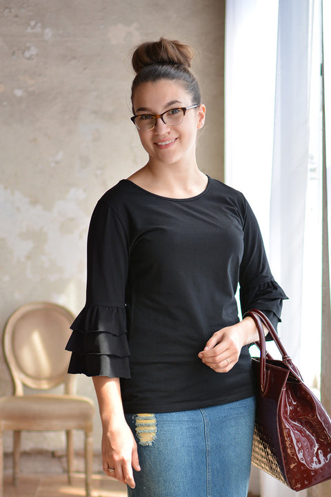 Black Sasha Ruffle Sleeve Top
