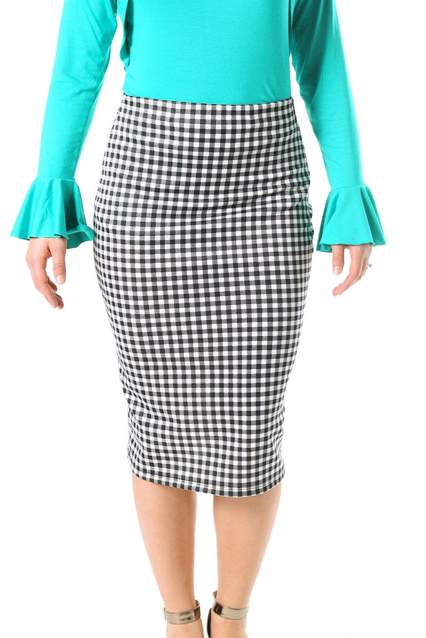 'Riley' Black & White Gingham Skirt