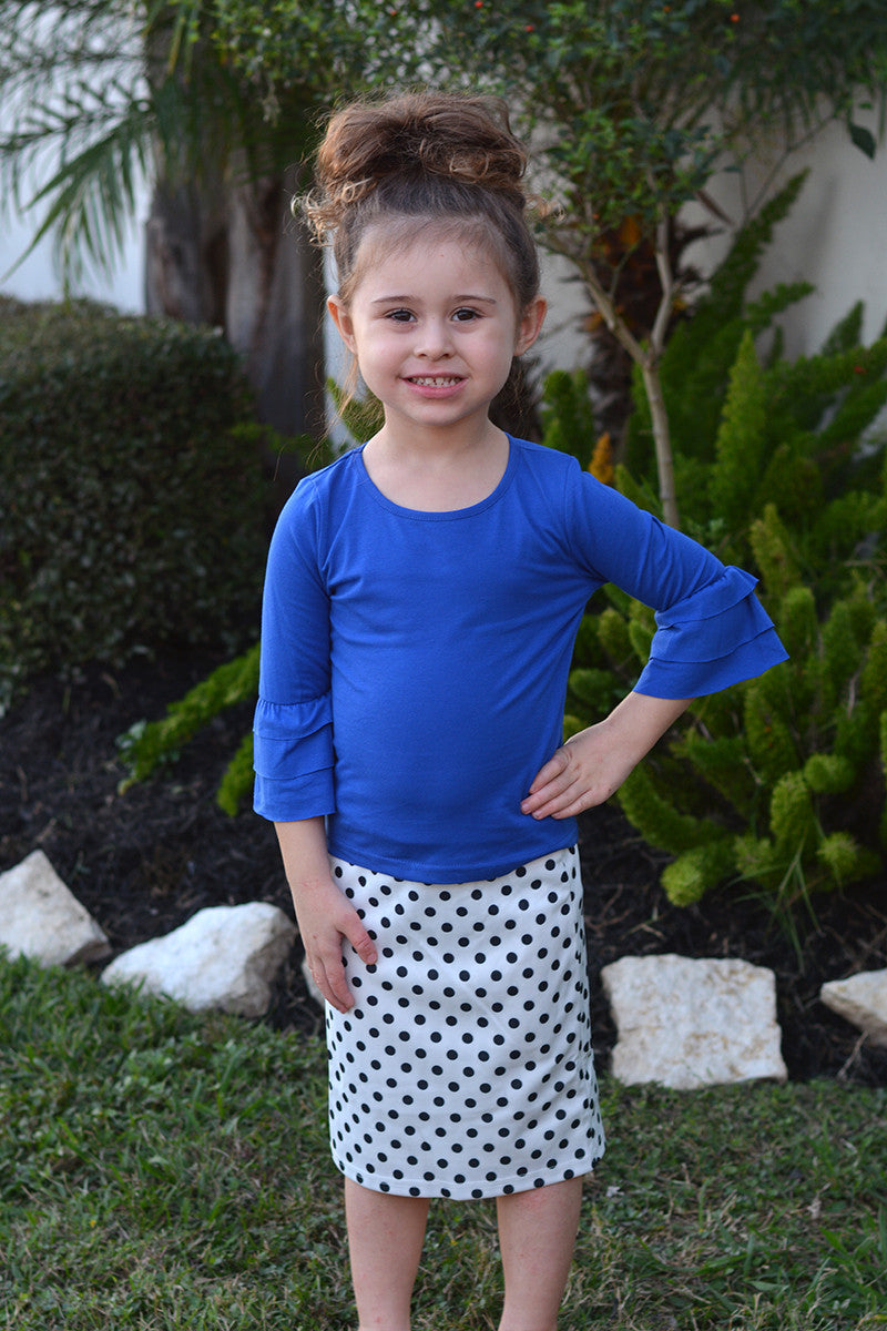 Royal Blue Girls Ruffle Top