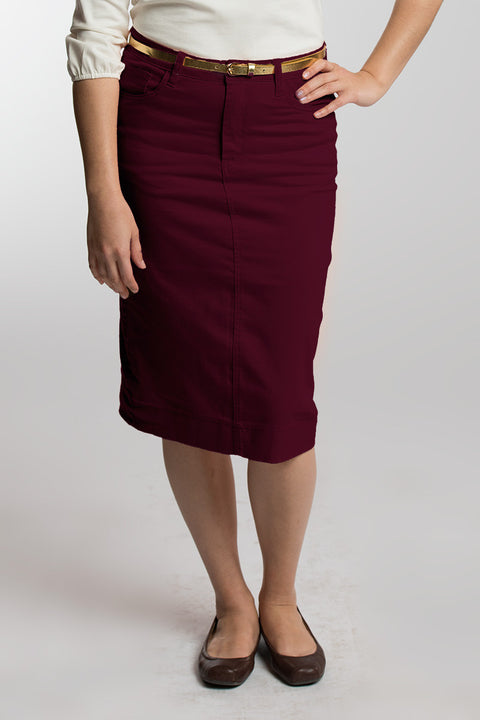 Burgundy Denim Skirt