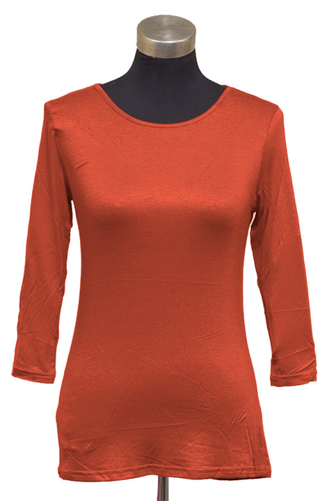 Burnt Orange 3/4 Sleeve Layering Tee