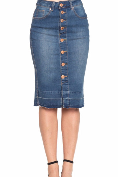 'Athens' Button Down Indigo BG Denim Skirt