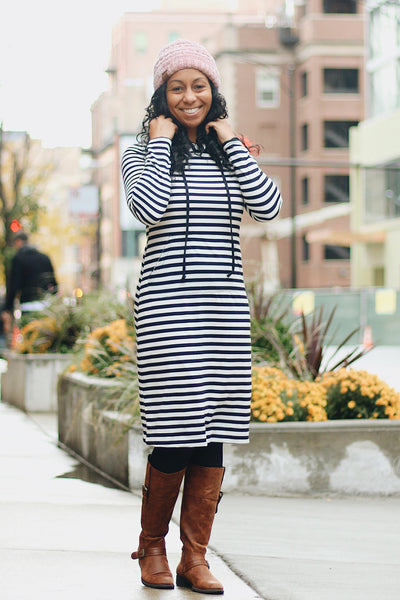 'Haleigh' Black & White Striped Hoodie Dress