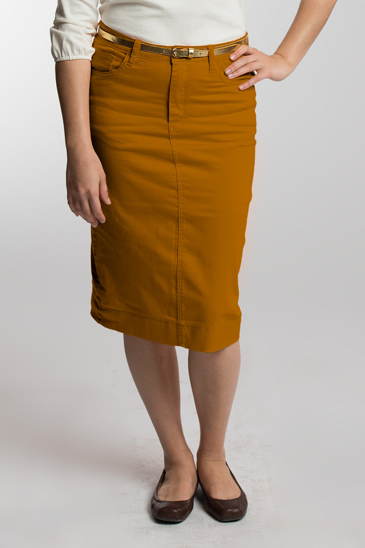 Butterscotch (Camel) Denim Skirt