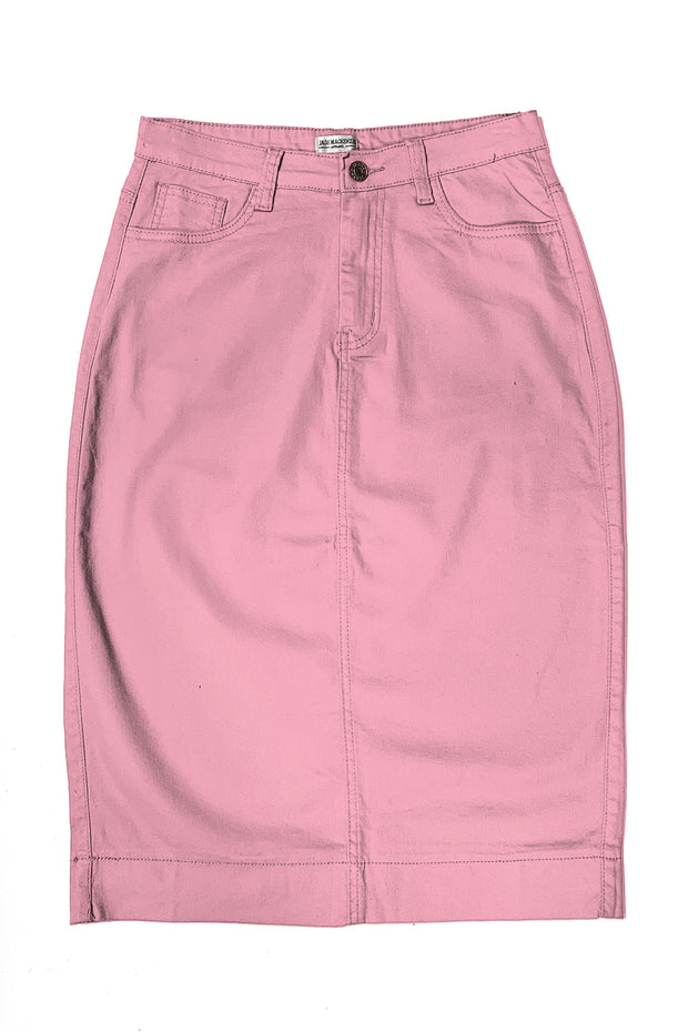 Candy Pink Color Denim Skirt