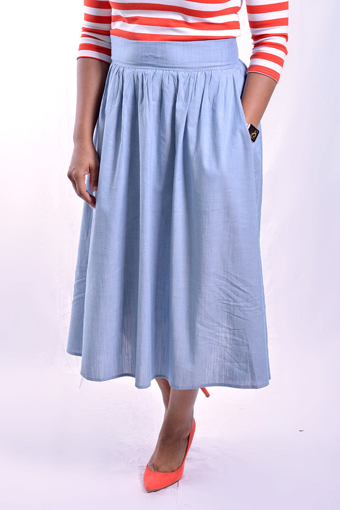 Chambray High Waist Skirt (FINAL SALE)