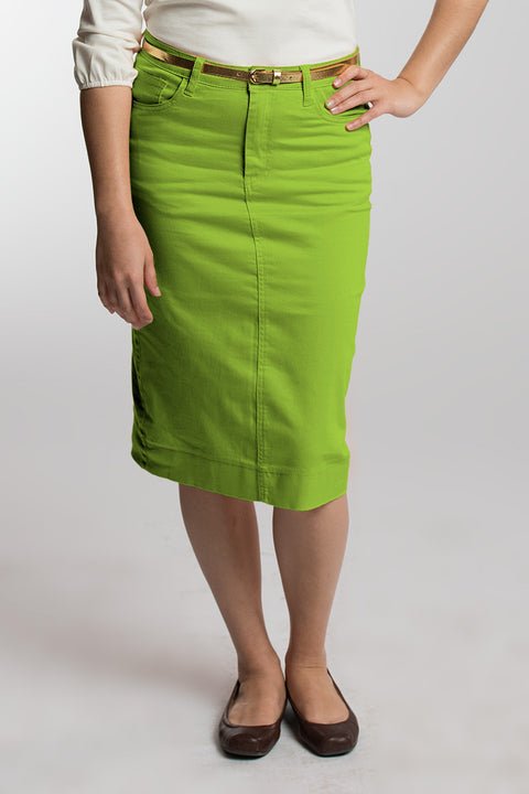 Chartreuse Denim Skirt