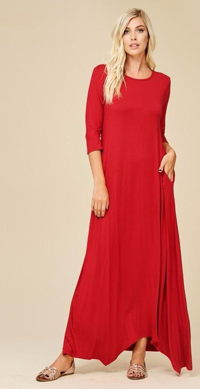Red Round Neck Maxi Dress (Plus Size Included)