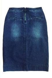 'Kara' Dark Wash Flat Front Denim Skirt