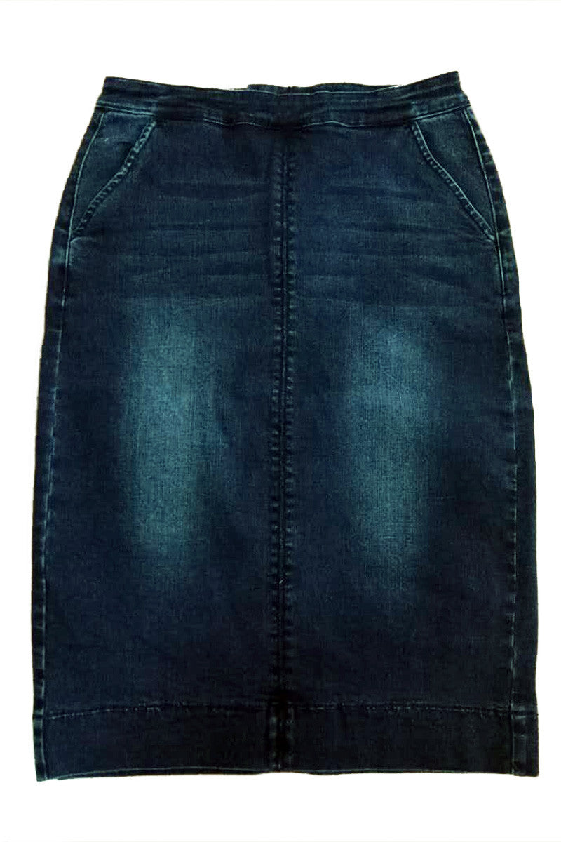 Kara Dark Washed Flat Front Denim Skirt