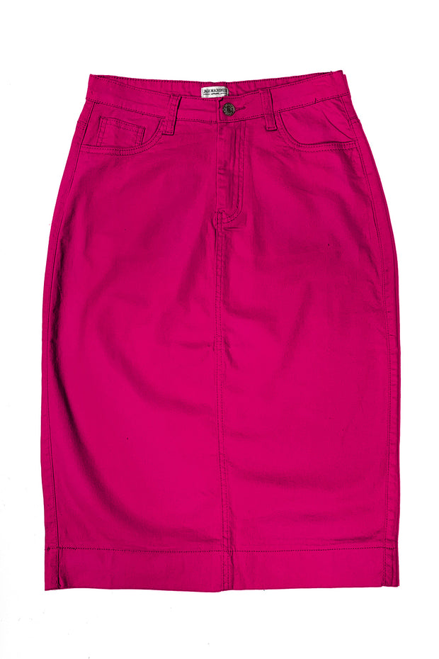 Hot Pink Color Denim Skirt