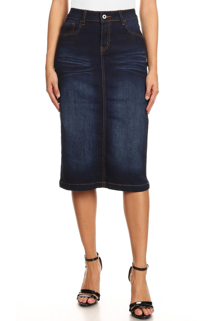 'Moscow' Dark Indigo Distressed Wash Denim Skirt