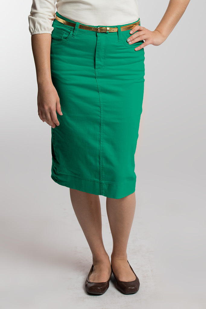 Emerald Green Denim Skirt PRE-ORDER