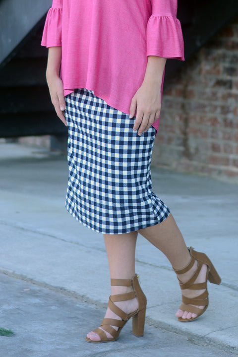 Navy Gingham Premium Knit Skirt