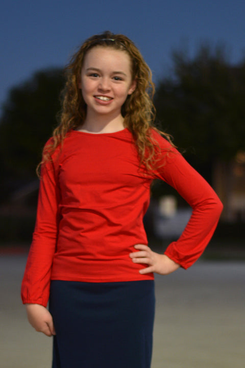Girls Red Long Sleeve Top