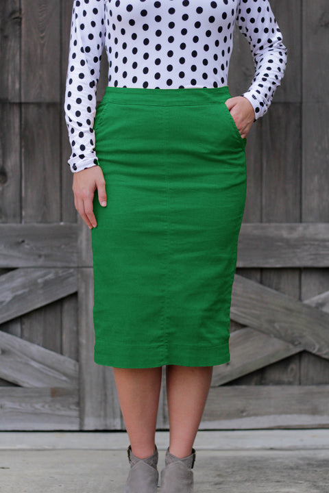 Kelly Green Kara Flat Front Denim Skirt