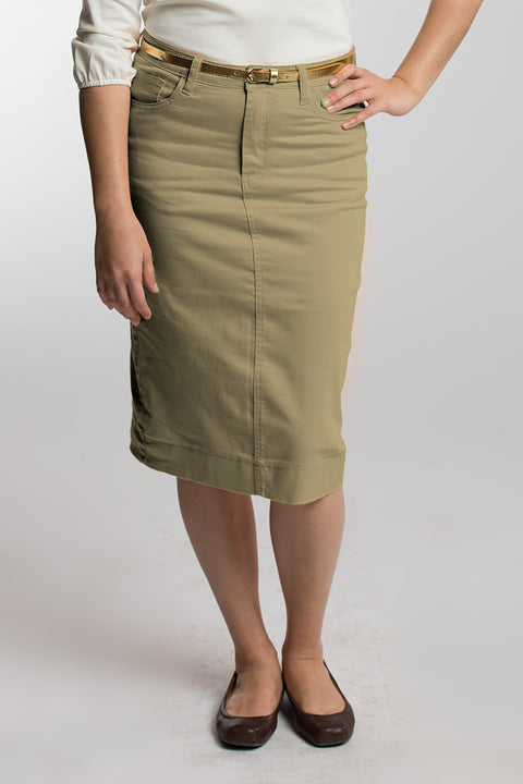 NEW Buttered Pecan (Taupe) Denim Skirt - PREORDER
