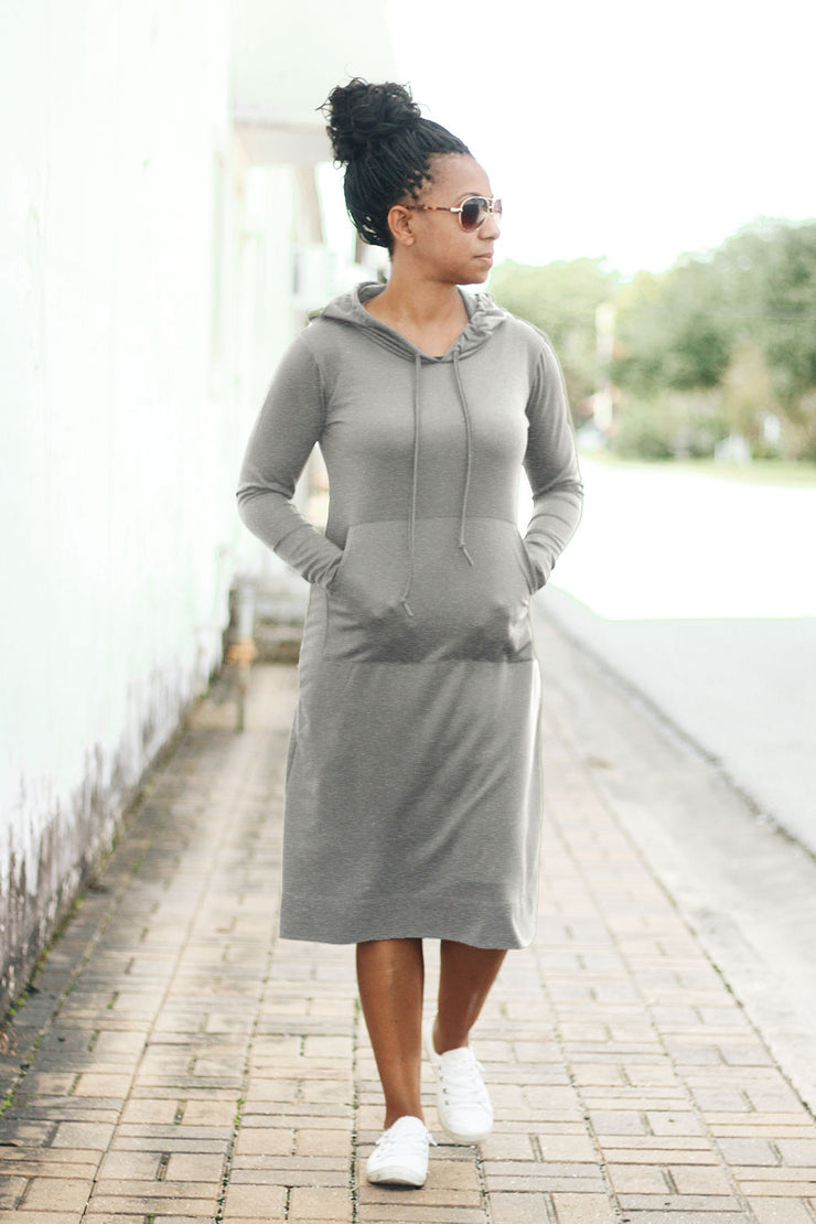 'Haleigh' Heather Gray Hoodie Dress