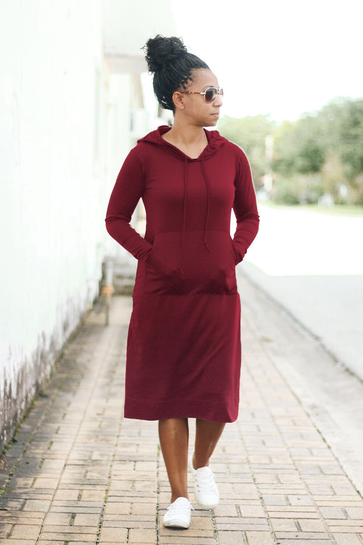 'Haleigh' Burgundy Hoodie Dress