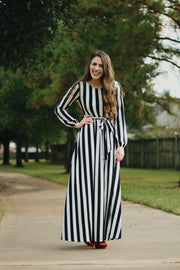 'Allison' Black & White Stripe