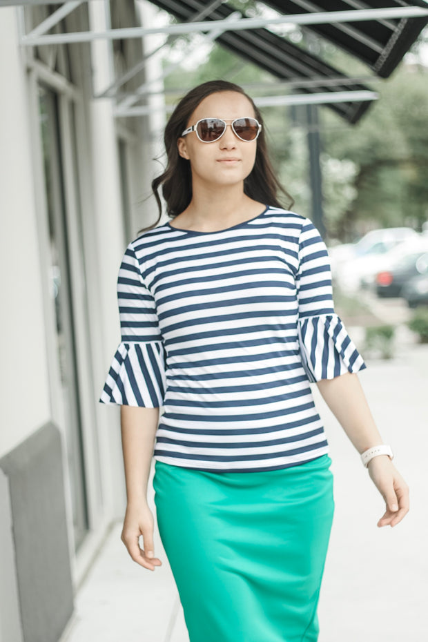 'Rebecca' Navy & White Stripe Top