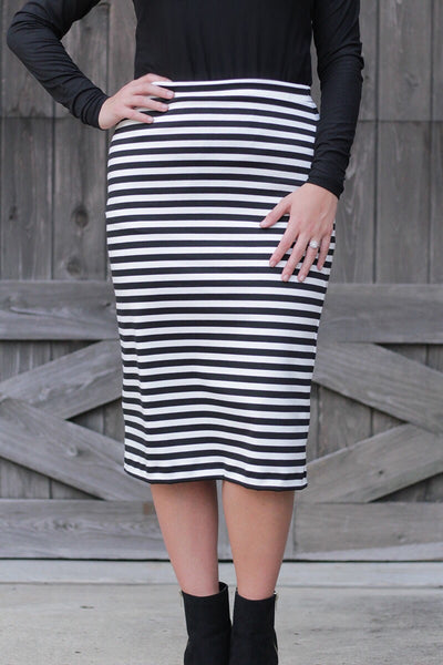 Black & White Stripe Skirt