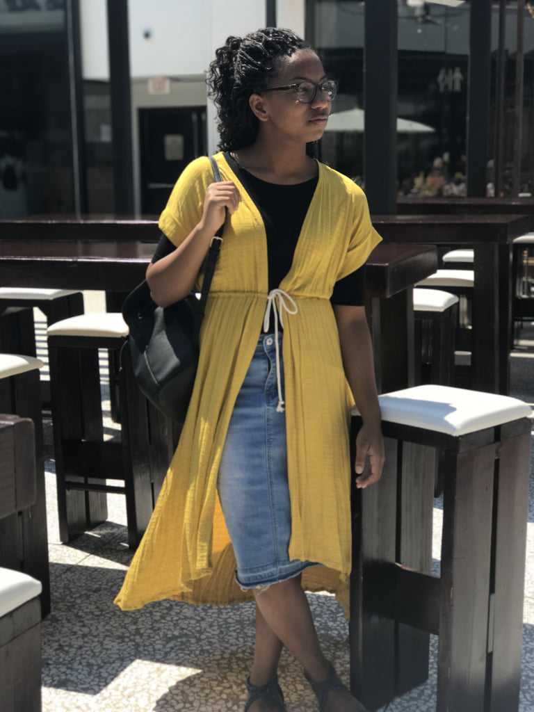 Mustard Tie Duster Dress