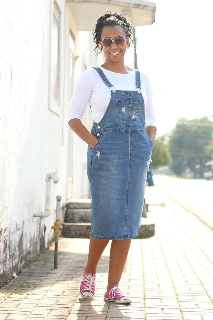 'Brittany' Light Wash Distressed Denim Overall Skirt