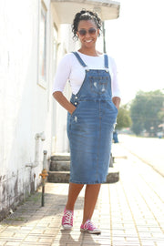 'Brittany' Distressed Denim Overall