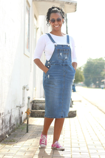 'Brittany' Distressed Denim Overall (available in light & dark wash)