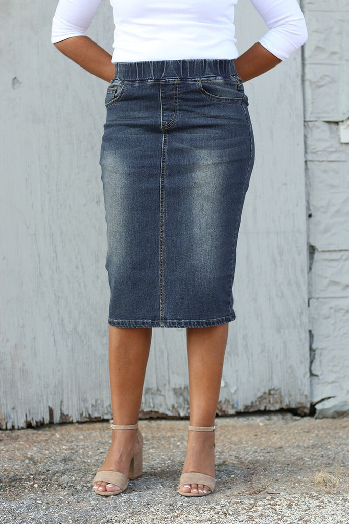 'Mia' Dark Wash Elastic Waist Denim Skirt