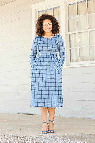 'Lily' Blue & Navy Plaid Dress