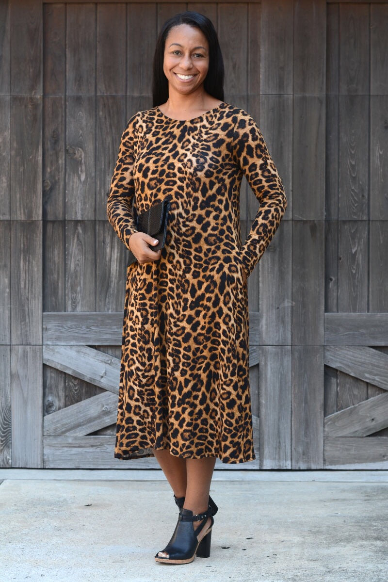 Renee Fit & Flare Leopard Dress