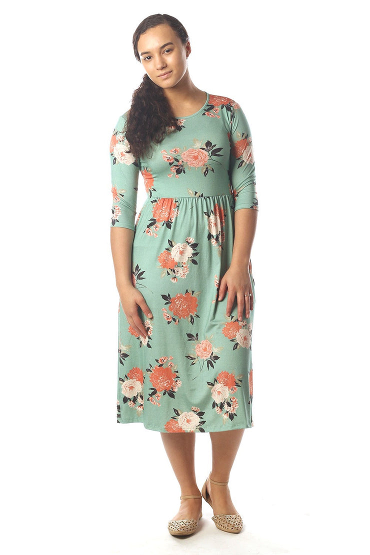 'Lily' Mint Green Floral Dress