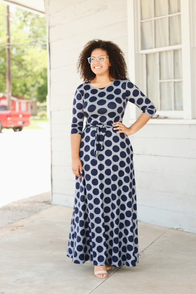 'Reagan' Navy Polka Dot Maxi Dress