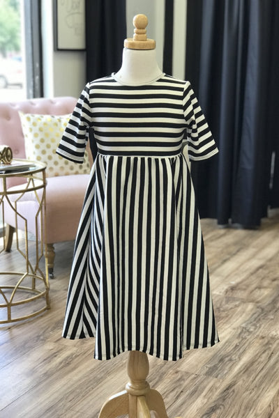 'Chloe' Black & White Stripe Dress