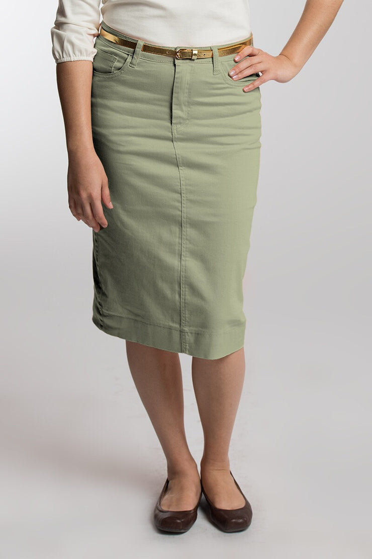 Spearmint Color Denim Skirt (LIMITED SIZES AVAILABLE)
