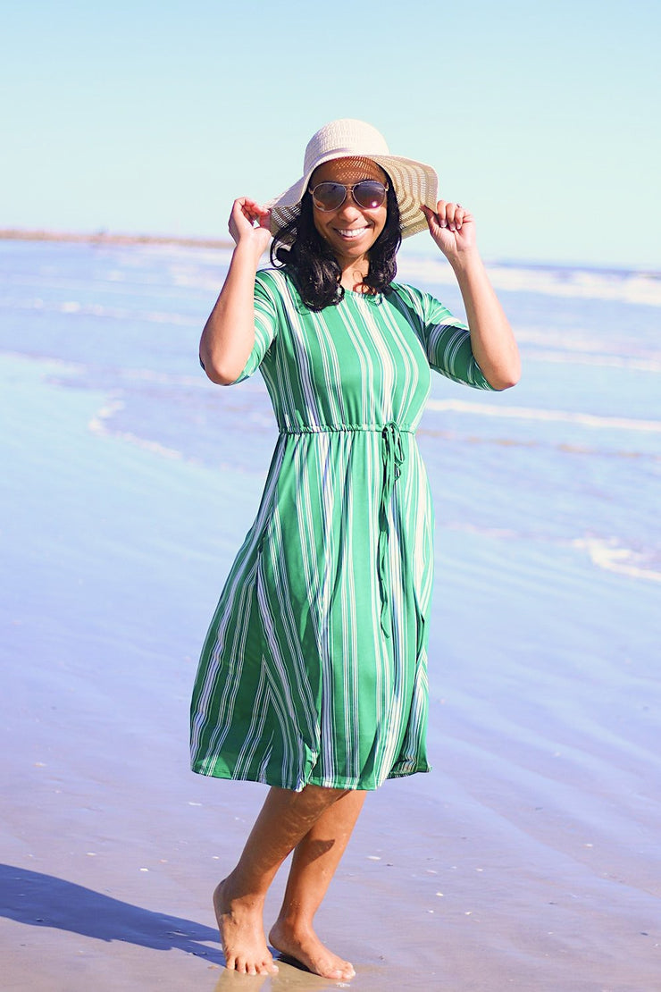 'Paradise' Kelly Green Stripe Swim Dress