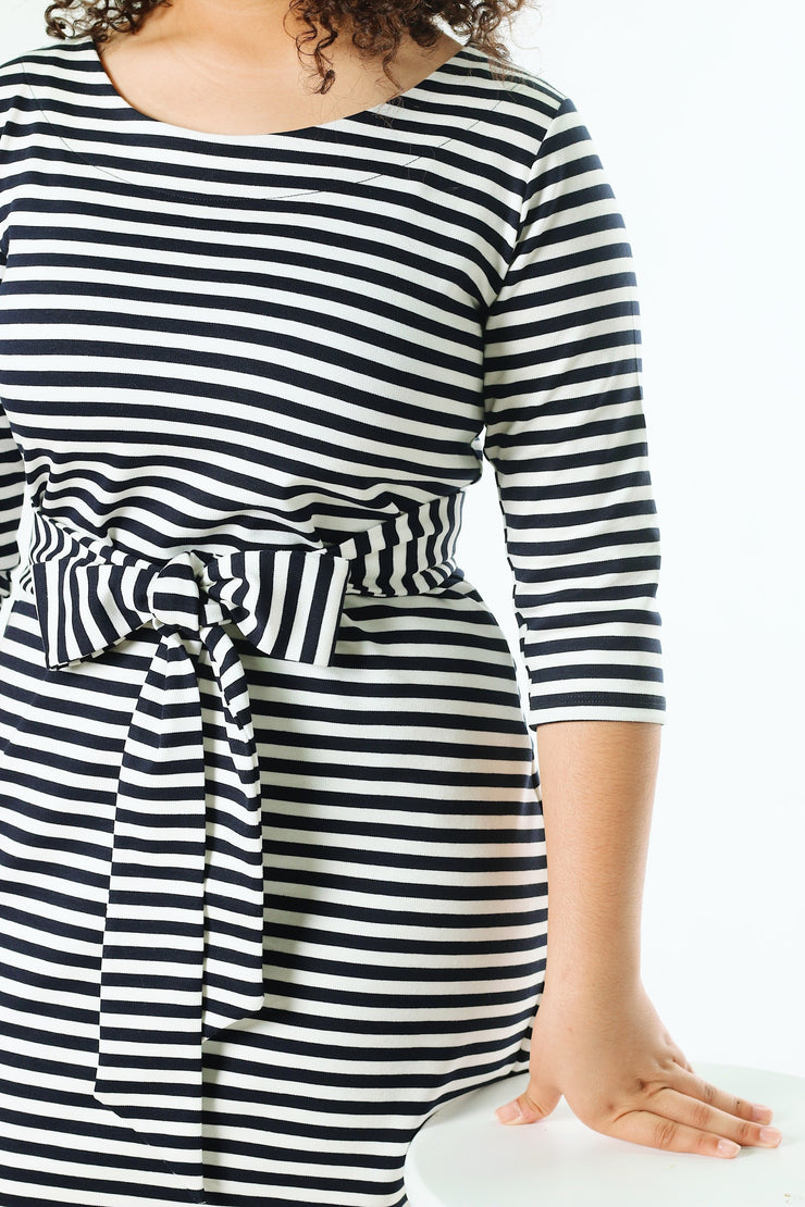 'Bria' Deep Navy & White Stripe Dress