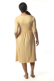 Lily Mustard and White Stripe Dress