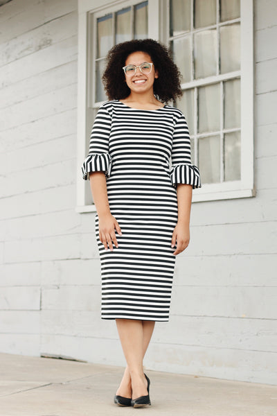 'Viviana' Black & White Stripe Dress