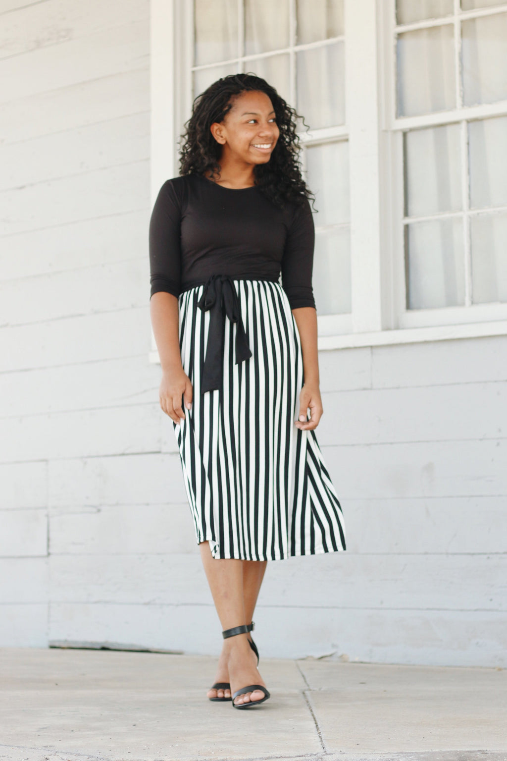 'Ariah' Black with White Stripe Dress