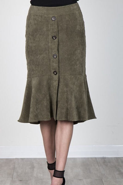 Olive Green Corduroy Button Down Skirt