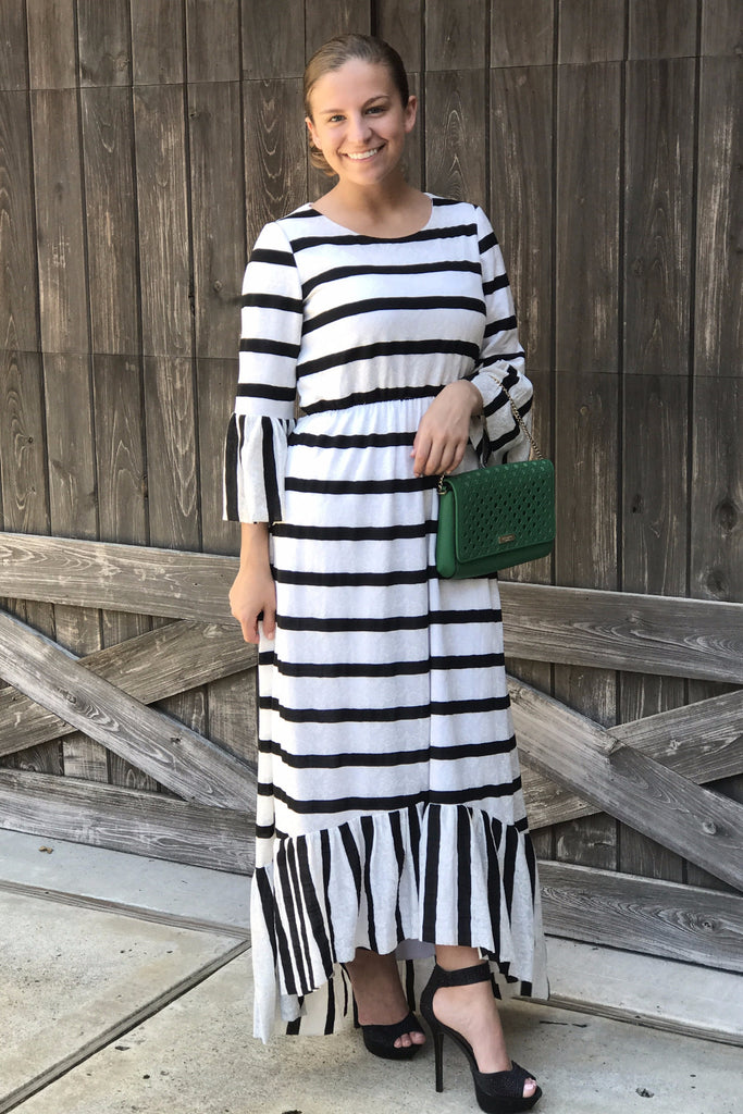 Briana Stripe Lace Dress (PRE-ORDER)
