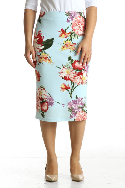 'Riley' Baby Blue Floral Skirt