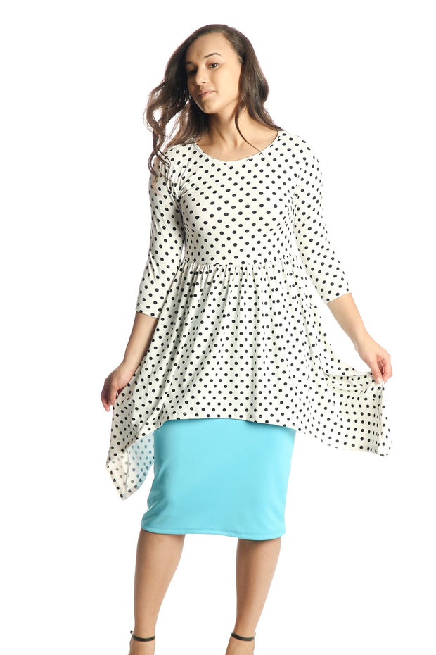 'Deanna' Black & White Polka Dot Empire Tunic