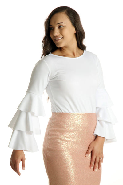 'Juliana' White Ruffle Top
