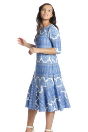 'Aubrey' Blue Paisley Dress