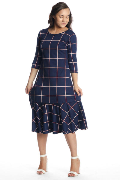 'Aubrey' Navy Plaid Dress