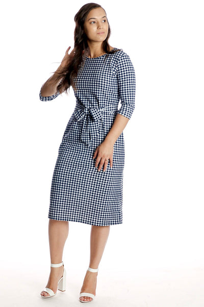 'Bria' Navy & White Gingham Dress